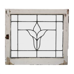 Antique American Leaded and Beveled Glass Windows, Stylized Flower-0