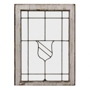 Antique American Leaded Glass Window, Shield-0