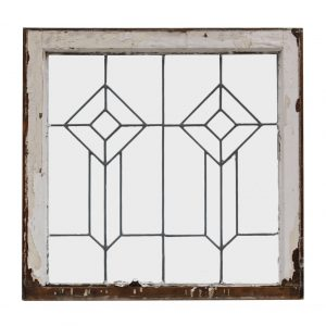 Antique American Leaded Glass Window, Geometric-0