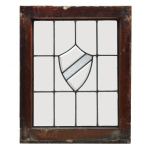 Antique American Leaded and Beveled Glass Window, Shield-0