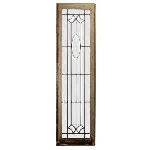 Antique American Leaded and Beveled Glass Window, Wheel Cut Cross-0