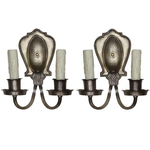 Tudor Sconce Pair in Darkened Nickel, Antique Lighting-0