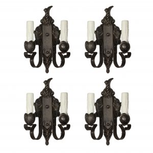 Cast Iron Sconce Pairs with Artichokes, Antique Lighting-0