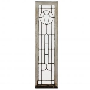 Antique American Beveled and Leaded Glass Window with Shield-0