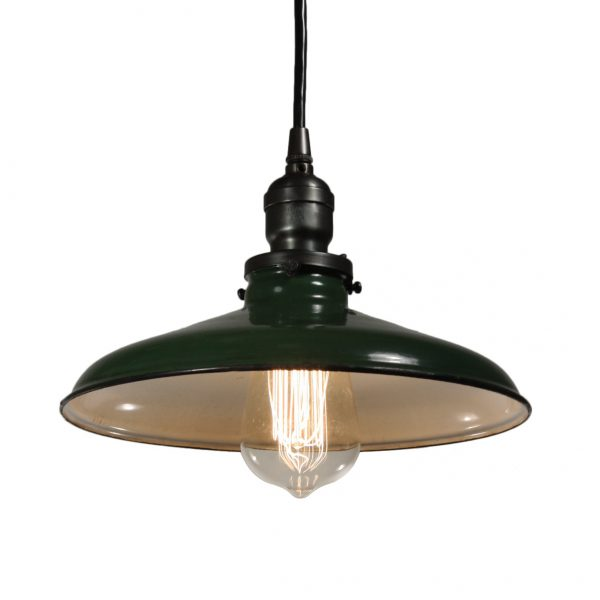 Antique Industrial Pendant Light with Green Enamel & Porcelain Shade-0