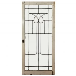 Antique American Leaded and Beveled Glass Window, Stylized Flower-0
