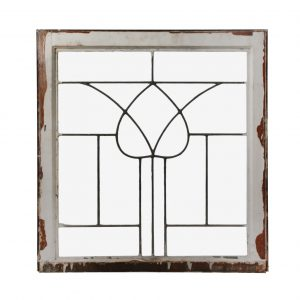 Antique American Leaded Glass Window, Stylized Tulip-0