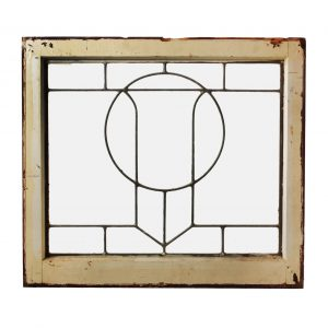 Antique Arts & Crafts American Leaded Glass Window-0