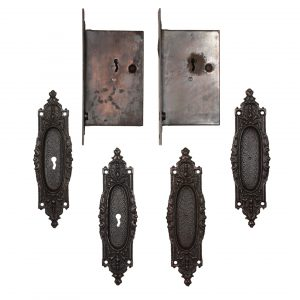 Complete Antique Double Pocket Door Hardware Set by Russell and Erwin, c.1883-0
