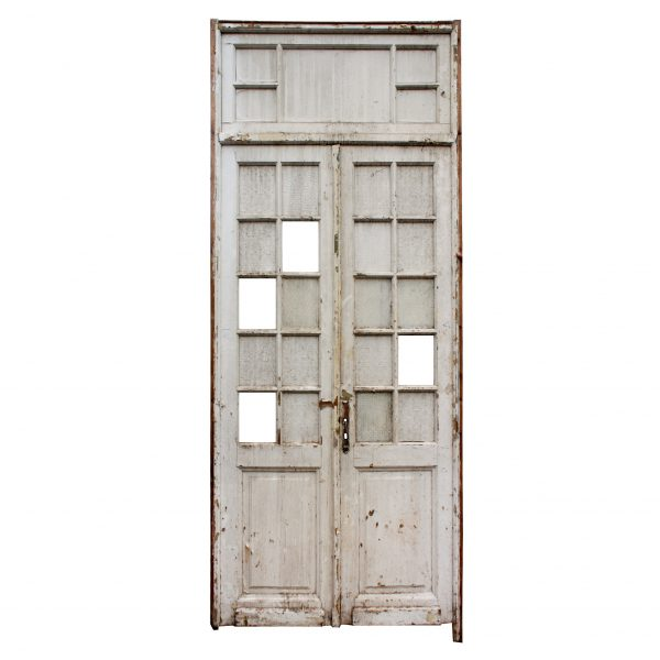 """Salvaged Pair of Antique 45"""" Doors with Transom-0"""
