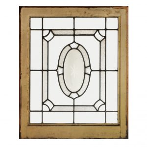 Antique Leaded and Beveled Glass Window, Hand-Cut Star-0