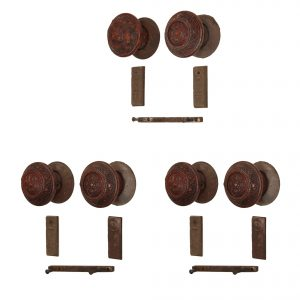 Rare Antique Wooden Door Hardware Sets with Matching Escutcheons, Late 19th Century-0
