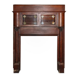 Antique Quarter-Sawn Oak Bookcase Mantel, Stained Glass Cabinets-0