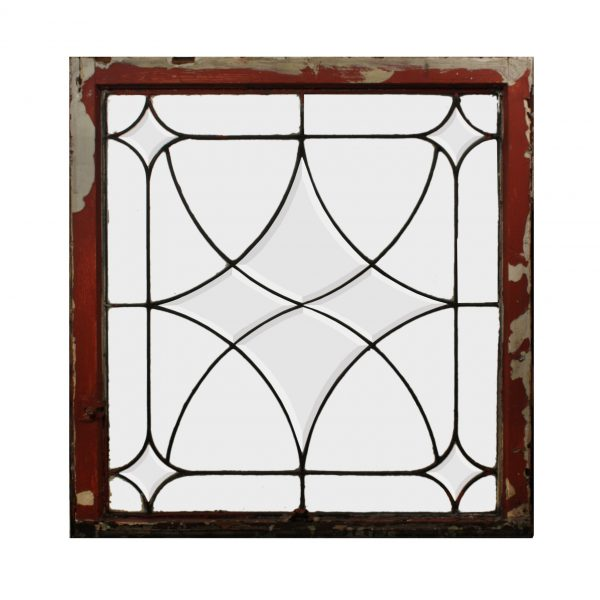 Antique American Leaded and Beveled Glass Window, Early 1900s-0