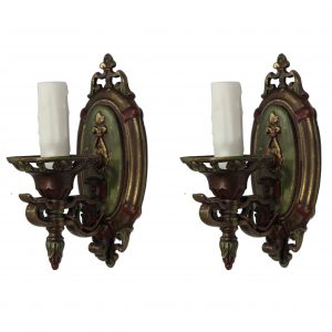 Neoclassical Bronze Sconce Pair by Lightolier, Antique Lighting-0