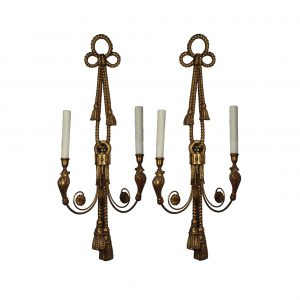 Neoclassical Figural Wooden Sconces with Birds, Antique Lighting-0