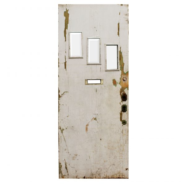 """Salvaged 34"""" Plank Door with Beveled Glass-0"""