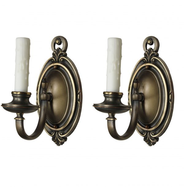 Colonial Revival Sconce Pair in Brass, Antique Lighting-0