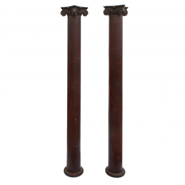 Reclaimed Pair of Antique Ionic Columns in Oak, Early 1900s-0