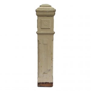 Reclaimed Antique Newel Post, Carved Sunburst Detail-0