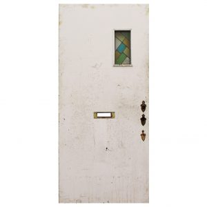 "Reclaimed 36"" Plank Door with Stained Glass-0"