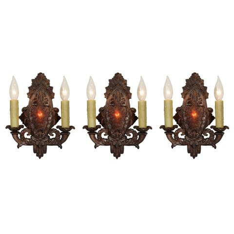 Antique Cast Iron Sconce with Mica, Early 1900s-0