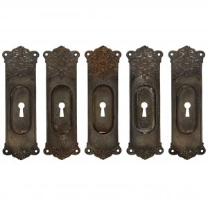 Neoclassical Pocket Door Plates in Cast Iron, Antique Hardware -0