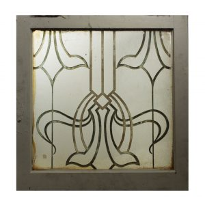 Antique Art Nouveau Window, Acid-Etched and Hand-Cut-0