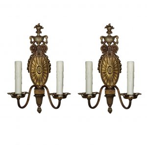 Adam Style Double-Arm Sconces by Halcolite, Antique Lighting-0