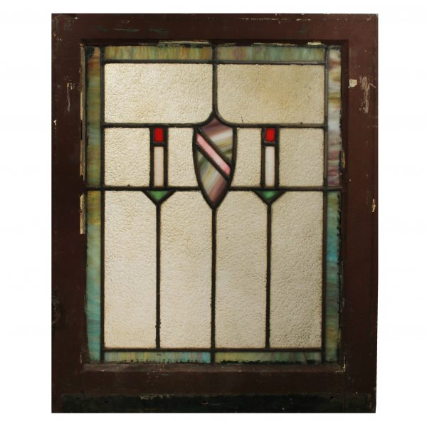 Antique American Arts & Crafts Stained Glass Window with Shield-0