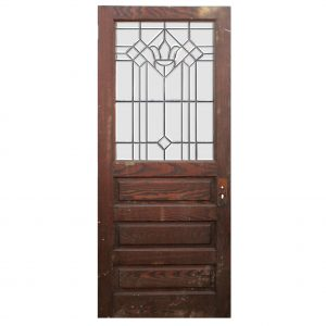 "Salvaged 34"" Oak Door with Beveled and Leaded Glass-0"