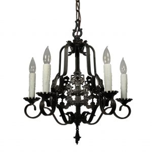 Spanish Revival Figural Chandelier with Knights, Signed Markel-0