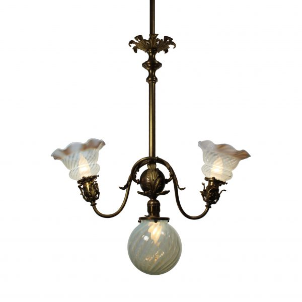 Neoclassical Three-Light Chandelier with Art Glass Shades, Antique Lighting-0