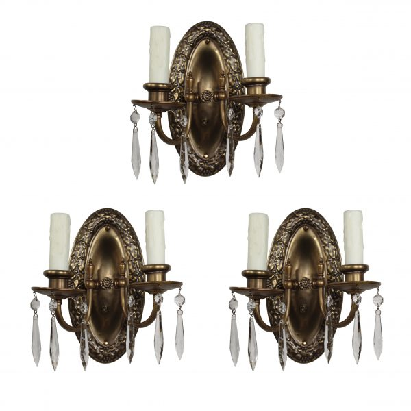 Antique Neoclassical Sconces in Brass, Icicle Prisms-0