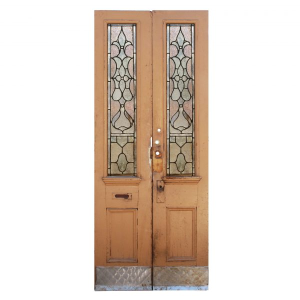 "Reclaimed 40"" Door Pair with Sun Purple Glass, Fleur-De-Lis-0"