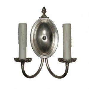 Antique Colonial Revival Double Arm Sconces, Silver Plated-0