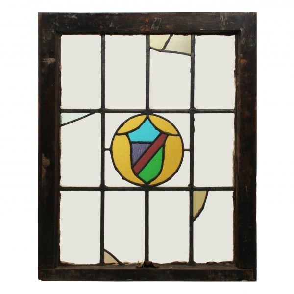 Antique American Tudor Stained Glass Window, Shield-0