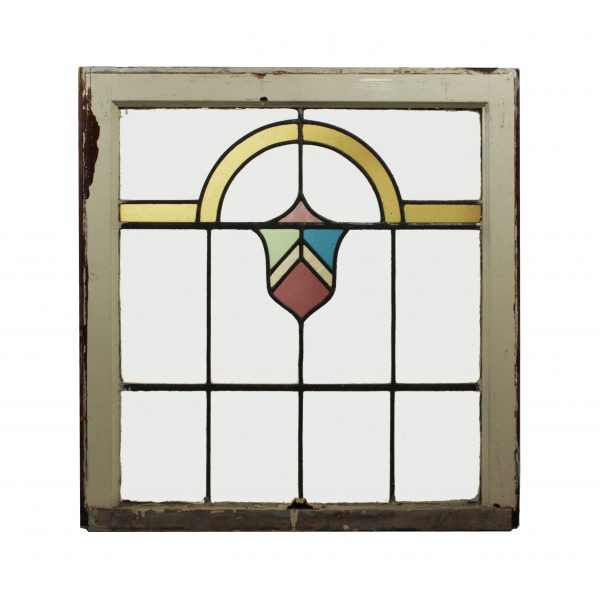 Antique American Stained Glass Window with Shield, c.1930-0