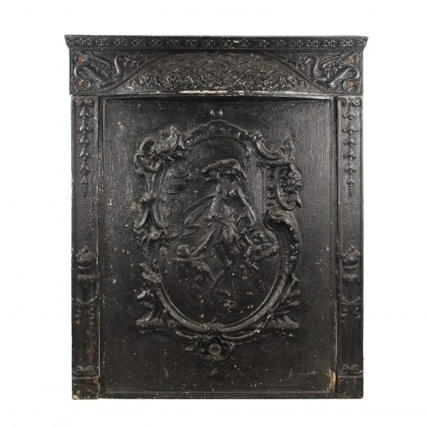 Antique Cast Iron Figural Fireplace Cover and Surround, C. 1900s-0