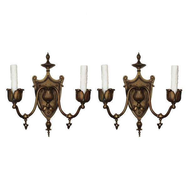 Antique Adam Style Gas Sconces in Bronze, C. 19th Century-0