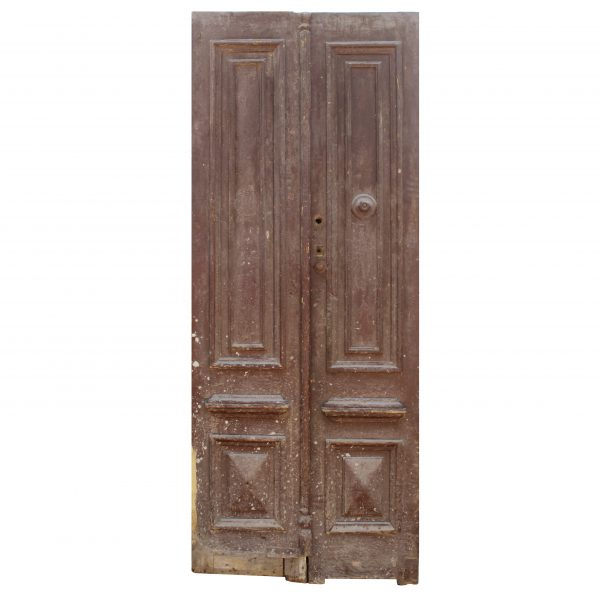 Old Salvaged Wood Door Pair from France, 19th Century-0