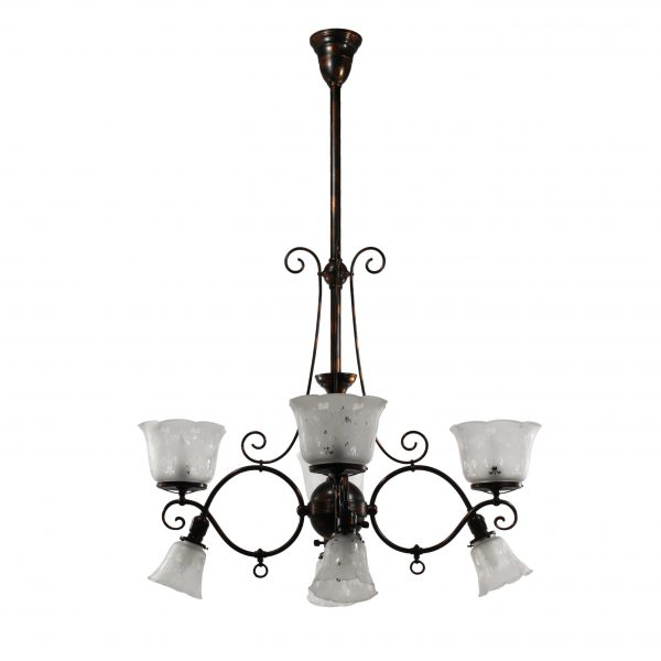 Antique Gas & Electric Chandeliers with Shades, Japanned Finish-0