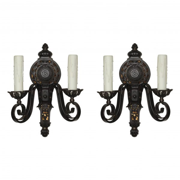 Antique Neoclassical Cast Iron Sconces with Mica -0