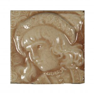 Antique American Figural Fireplace Majolica Tile, Trent Tile Co.-0