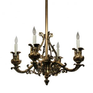 Substantial Antique Cast Bronze Neoclassical Chandelier, C. 19th Century-0