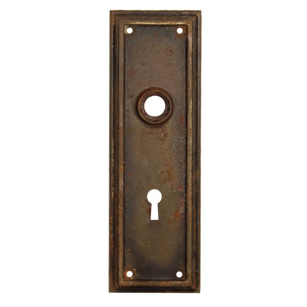 Salvaged Antique Arts and Crafts Door Knob Backplates-0