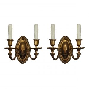 Antique Georgian Style Sconces in Gilded Bronze, E.F Caldwell Attributed-0