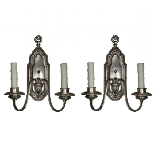 Pair of Silver Plated Neoclassical Sconces Signed Edward Miller, Antique Lighting-0