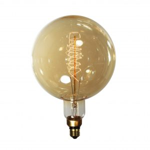 "Reproduction Edison Light Bulb, Round ""Helix"" Style-0"