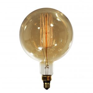 "Reproduction Edison Light Bulb, Round ""Squirrel Cage"" Style-0"